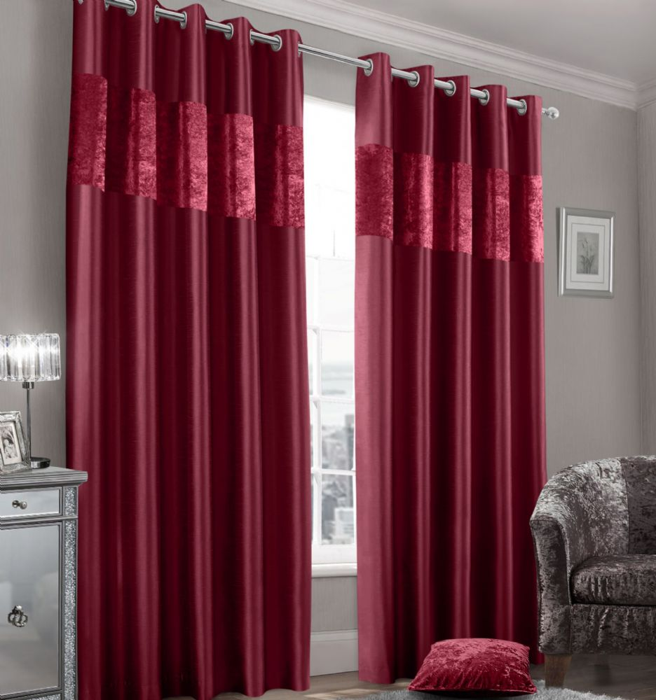 Stylish Faux Silk Crushed Velvet Modern Textured Ringtop Eyelet Pair Of Curtains Raspberry Colour